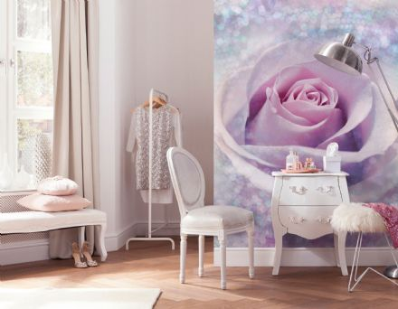 Non-woven wallpaper Pink rose flower